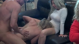 Four Horny Whores Sucking and Fucking at Amateur Swinger Groupsex